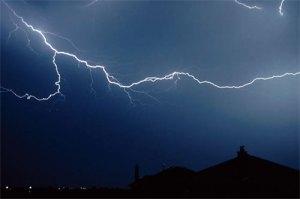 Lightning and heavy sky